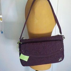 Vera Bradley Zip Top Wine Fabric Shoulder Bag NWT